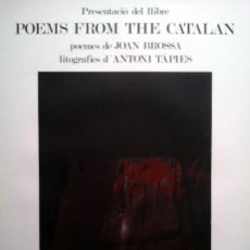 Arte: TAPIES, A. (1923-2012). POEMS FROM CATALAN. FIRMADA. NUMERADA. 75 EJ.. Lote 26882756