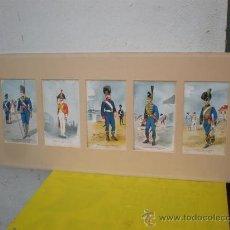 Arte: 5 LITOGRAFIAS DE TRAJES MILITARES ANTIGUOS. Lote 24826797