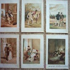 Arte: EUSEBIO PLANAS (1833-1897). 6 CROMOLITOGRAFÍAS. 23 X 15 CM. FIRMADAS Y FECHADAS EN PLANCHA: 1889.. Lote 27205908