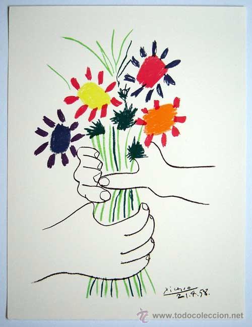 PICASSO / LE BOUQUET. FIRMADA Y FECHADA PLANCHA. 49.5 X 65 CM. REFERENCIADA CATÁLOGO BLOCH (Arte - Serigrafías )