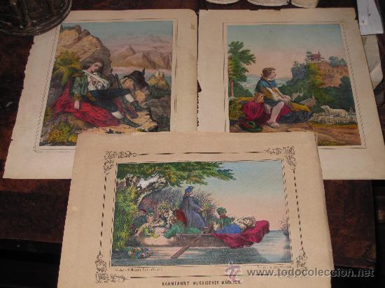LOTE DE 3 CROMOLITOGRAFÍAS CON DIFERENTES MOTIVOS SIGLO XIX. (Arte - Serigrafías )