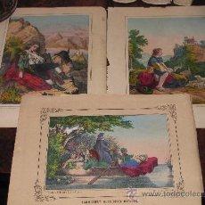 Arte: LOTE DE 3 CROMOLITOGRAFÍAS CON DIFERENTES MOTIVOS SIGLO XIX.. Lote 26869370