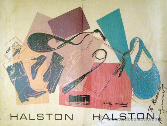 ANDY WARHOL - CARTEL PARA HALSTON DOS CARAS DEDICADO Y FIRMADO (Arte - Serigrafías )