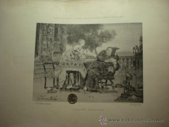 156 SIEMPRE GANANDO !! PRECIOSO GRABADO SIGLO XIX PIEZA ORIGINAL DE EPOCA 1882 (Arte - Serigrafías )