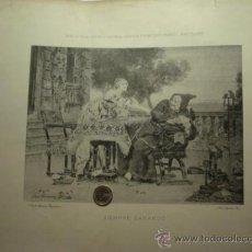 Arte: 156 SIEMPRE GANANDO !! PRECIOSO GRABADO SIGLO XIX PIEZA ORIGINAL DE EPOCA 1882. Lote 28207606