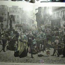 Arte: 169 WISBY DINAMARCA PRECIOSO GRABADO COLOREADO A MANO SIGLO XIX PIEZA ORIGINAL DE EPOCA 1882. Lote 28207623
