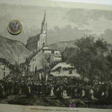 Arte: 181 LOURDES FRANCIA PRECIOSO GRABADO SIGLO XIX PIEZA ORIGINAL DE EPOCA 1872. Lote 28216196