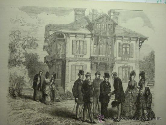 185 TROUVILLE FRANCIA PRECIOSO GRABADO SIGLO XIX PIEZA ORIGINAL DE EPOCA 1872 (Arte - Serigrafías )