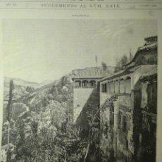 Arte: 263 GRANADA ALHAMBRA PRECIOSO GRABADO SIGLO XIX PIEZA ORIGINAL DE EPOCA 1876. Lote 28233620