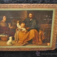 Arte: LA SAGRADA FAMILIA DE MURILLO. IMPRESION LITOGRAFICA SOBRE PLANCHA, DE 32 CM X 42 CM. . Lote 28582819