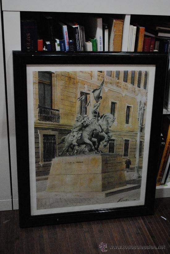 ACUARELA-PINTURA. LAMINA DE LA ESTATUA DE LOS HEROES DE ALCANTARA. ACADEMIA DE CABALLERIA. (Arte - Serigrafías )
