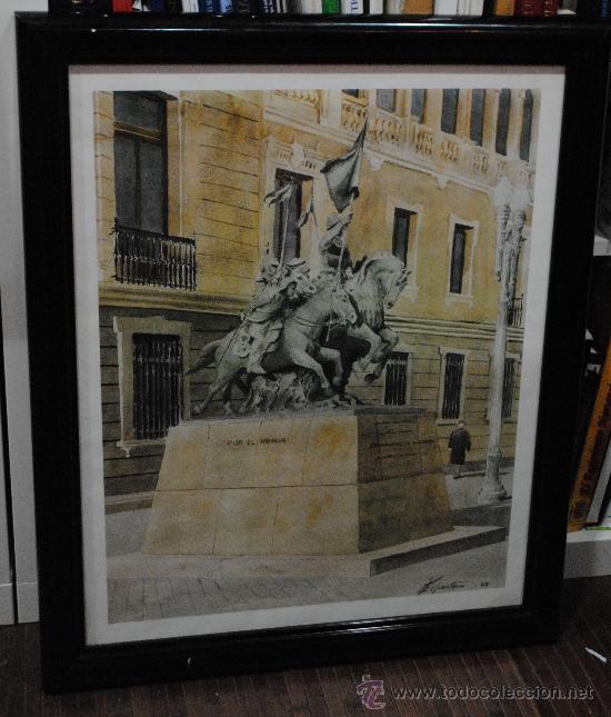Arte: ACUARELA-PINTURA. LAMINA DE LA ESTATUA DE LOS HEROES DE ALCANTARA. ACADEMIA DE CABALLERIA. - Foto 2 - 29220822