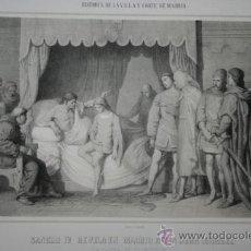 Arte: SANCHO IV REVELA EN MADRID Á DON JUAN MANUEL LA CAUSA DE SU MUERTE. V. MANZANO INV. ZARZA LITOGRAFIÓ. Lote 29236923