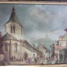 Arte: SEDA NATURAL ESTAMPADA ANTIGUO BARRIO ,AÑOS 50/60. Lote 30000850