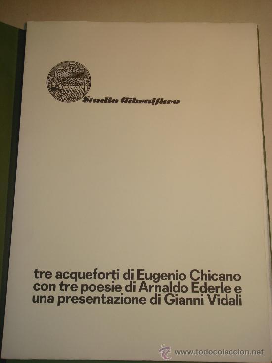 Arte: EUGENIO CHICANO, Carpeta con 3 Aguafuerte y 3 poesías de Arnaldo Ederle, 1978 - Foto 3 - 33418102