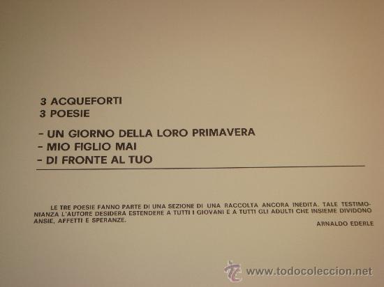 Arte: EUGENIO CHICANO, Carpeta con 3 Aguafuerte y 3 poesías de Arnaldo Ederle, 1978 - Foto 4 - 33418102