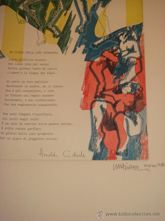 Arte: EUGENIO CHICANO, Carpeta con 3 Aguafuerte y 3 poesías de Arnaldo Ederle, 1978 - Foto 6 - 33418102