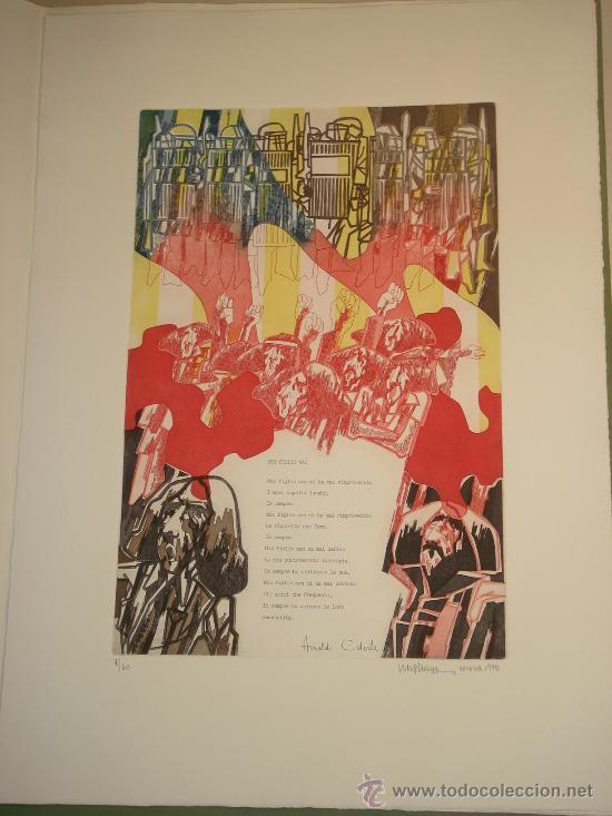Arte: EUGENIO CHICANO, Carpeta con 3 Aguafuerte y 3 poesías de Arnaldo Ederle, 1978 - Foto 7 - 33418102