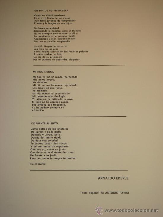 Arte: EUGENIO CHICANO, Carpeta con 3 Aguafuerte y 3 poesías de Arnaldo Ederle, 1978 - Foto 12 - 33418102