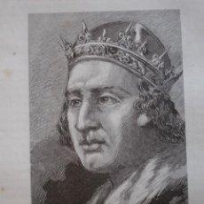 Arte: ALFONSO IX.GRABADO DE JUAN SERRA PAUSAS.15X9.5 .SOBRE 1900. Lote 35794289