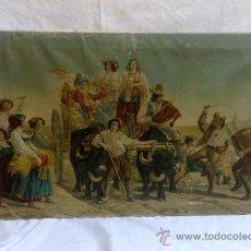 Arte: BONITA Y ANTIGUA ESTAMPACIÓN SOBRE TELA. MARCADA Y TITULADA.. Lote 37162765