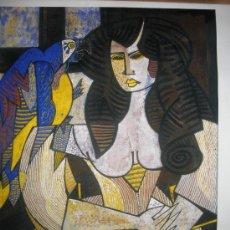 Art: LAMINA DE JESUS FUERTES (SOBRINO DE GLORIA FUERTES) MUJER CON CANTARO. DEDICADA POR EL AUTOR. *. Lote 38385419