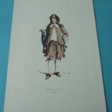 Arte: NARCISINO - 1650. PERSONAJE DE LA COMEDIA DEL ARTE. FORMATO 22 X 32 CM. Lote 38716941