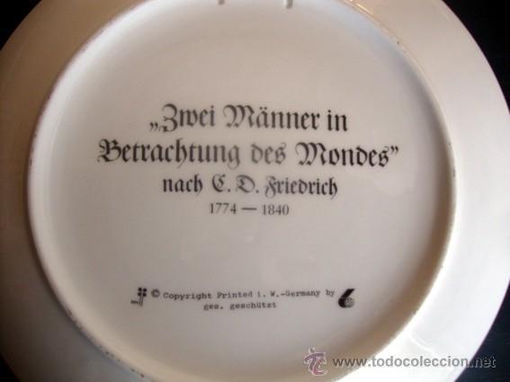 Arte: Plato porcelana 20 cm - C.D. Friedrich (Zwei Männer in Betrachtung des Mondes) - Foto 2 - 41595569