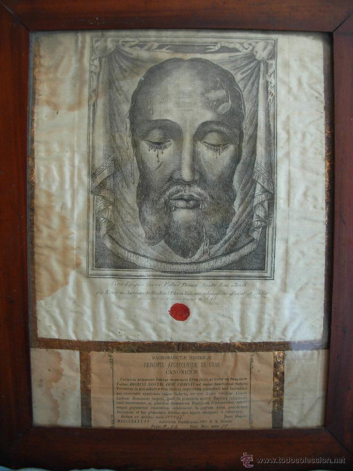 SANTA FAZ EN TELA, SERIGRAFIADA, LACRADA Y ENMARCADA DEL SIGLO XIX AÑO 1.877 (Arte - Serigrafías )