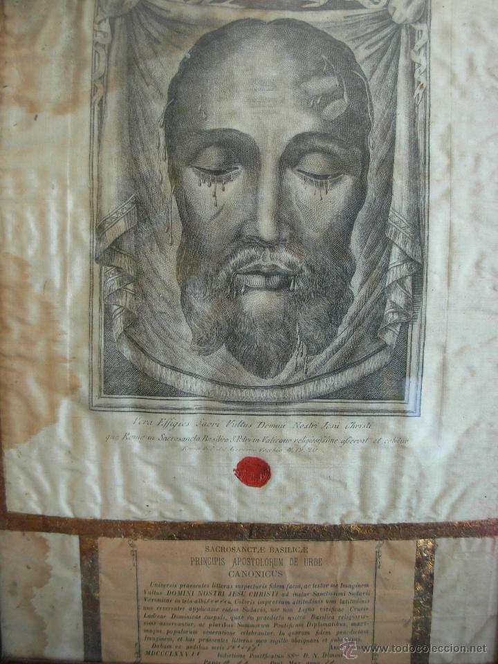 Arte: Santa Faz en tela, serigrafiada, lacrada y enmarcada del siglo XIX año 1.877 - Foto 2 - 42374192
