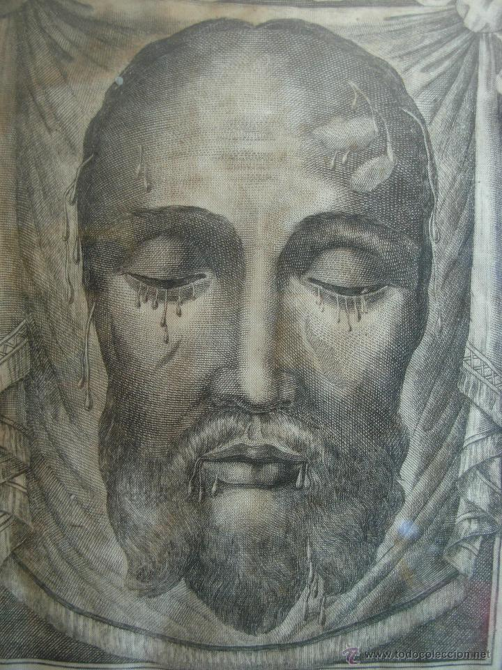Arte: Santa Faz en tela, serigrafiada, lacrada y enmarcada del siglo XIX año 1.877 - Foto 3 - 42374192