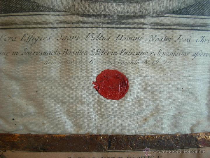 Arte: Santa Faz en tela, serigrafiada, lacrada y enmarcada del siglo XIX año 1.877 - Foto 4 - 42374192