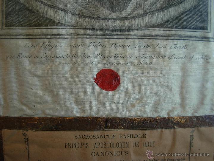 Arte: Santa Faz en tela, serigrafiada, lacrada y enmarcada del siglo XIX año 1.877 - Foto 6 - 42374192