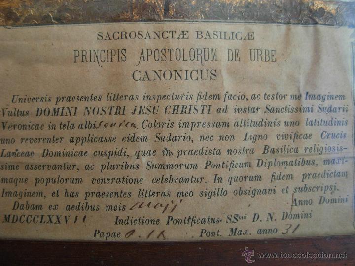 Arte: Santa Faz en tela, serigrafiada, lacrada y enmarcada del siglo XIX año 1.877 - Foto 7 - 42374192