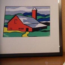 Arte: GRAN SERIGRAFIA DE ROY LICHTENSTEIN RED BARN II 1969 EDICION LIMITADA 1000 UND. MARCO INCLUIDO. Lote 43732719