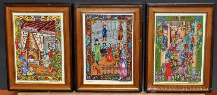 CONJUNTO DE 3 PORCELANAS SERIGRAFIADAS DE TEMA INDIO. FIRMADAS Y NUMERADAS (Arte - Serigrafías )