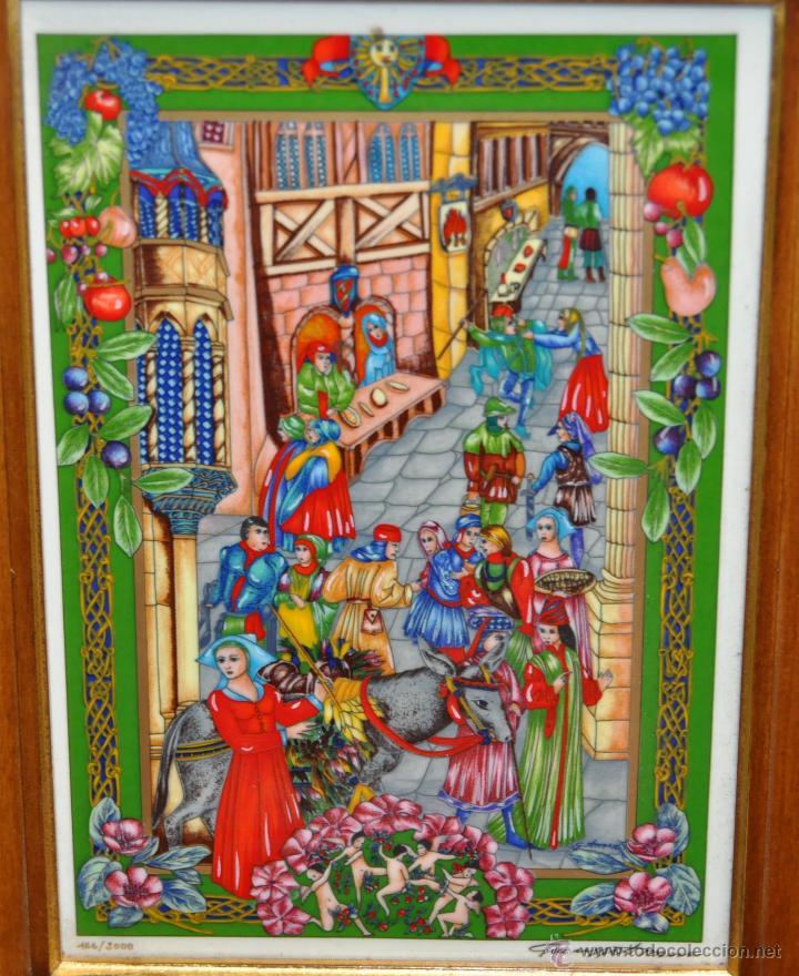 Arte: CONJUNTO DE 3 PORCELANAS SERIGRAFIADAS DE TEMA INDIO. FIRMADAS Y NUMERADAS - Foto 2 - 44427176