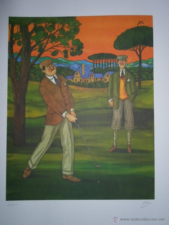 YSASI RICARDO ISASI OLASCOAGA (ALGORTA VIZCAIA 1917) SERIGRAFÍA GOLF 51X36 PAPEL 70X50CMS FIRMA /150 (Arte - Serigrafías )