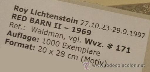 Arte: GRAN SERIGRAFIA DE ROY LICHTENSTEIN RED BARN II 1969 EDICION LIMITADA 1000 UND. MARCO INCLUIDO - Foto 3 - 43732719