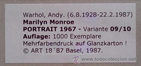 Arte: GRAN SERIGRAFIA DE ANDY WARHOL MARILYN MONROE 1967 ENMARCADA Y EDICION LIMIT. 1000 UND VAR 09 - Foto 2 - 120257711