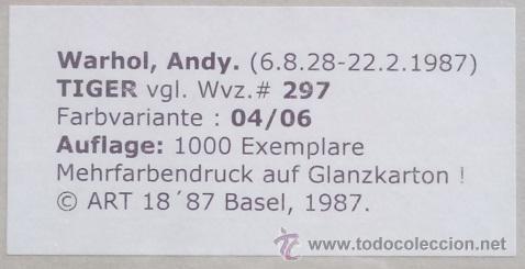 Arte: BONITA SERIGRAFIA DE ANDY WARHOL THE TIGER 04/06 NR. 297 EDICION LIMITADA DE SOLO 1000 UNIDADES - Foto 2 - 57894277