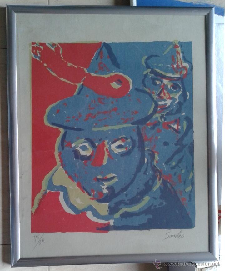 PACO SANCHO (MADRID, 1951) - SERIGRAFIA Nº 45 DE 50 - ENMARCADA CRISTAL 53 X 43 (Arte - Serigrafías )