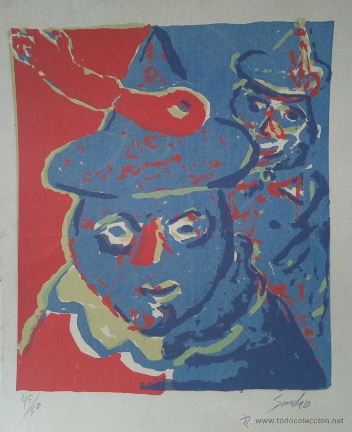 Arte: PACO SANCHO (MADRID, 1951) - SERIGRAFIA Nº 45 DE 50 - ENMARCADA CRISTAL 53 X 43 - Foto 2 - 53693154