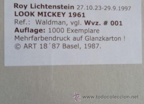 Arte: GRAN SERIGRAFIA ROY LICHTENSTEIN LOOK MICKEY 1961 ENMARCADA+MARCO EDICION LIMIT. 1000 UND - Foto 3 - 53992530