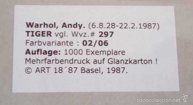 Arte: BONITA SERIGRAFIA DE ANDY WARHOL THE TIGER 02/06 NR. 297 EDICION LIMITADA A SOLO 1000 UNIDADES - Foto 2 - 57919354
