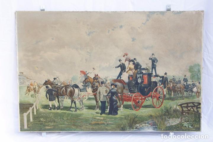Arte: Antigua Serigrafía sobre tela, principios del siglo XX finales del XIX - Hipódromo - 93 x 61 CM - Foto 2 - 62957404