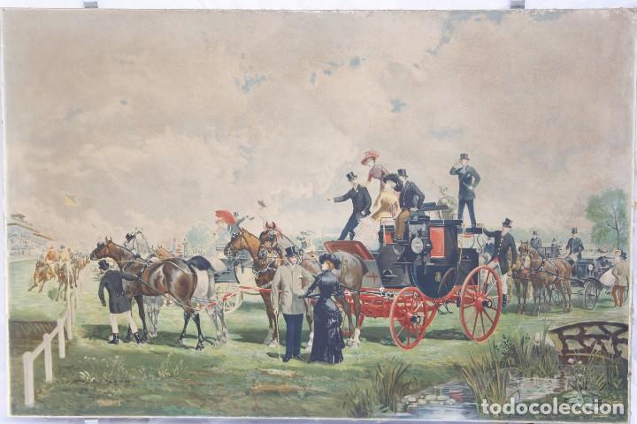 Arte: Antigua Serigrafía sobre tela, principios del siglo XX finales del XIX - Hipódromo - 93 x 61 CM - Foto 3 - 62957404