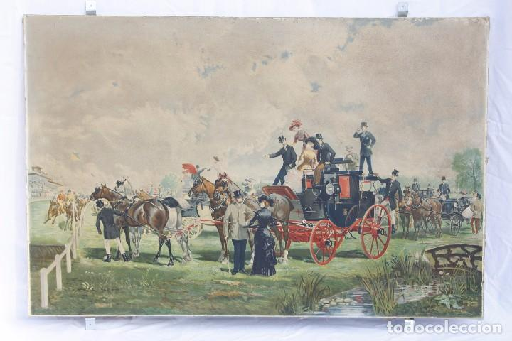 Arte: Antigua Serigrafía sobre tela, principios del siglo XX finales del XIX - Hipódromo - 93 x 61 CM - Foto 4 - 62957404