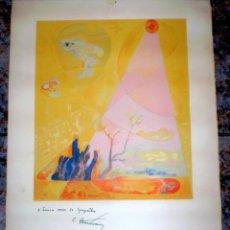 Arte: SERIGRAFÍA SOBRE CARTULINA FIRMADA Y DEDICADA.76 X 53 CM.. Lote 74505075