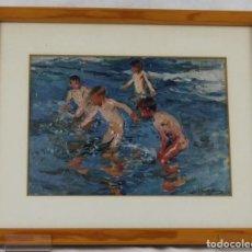 Arte: LÁMINA DE SOROLLA ENMARCADA,NIÑOS EN LA PLAYA,DIMENSIONES 30X20 CM.. Lote 74920123